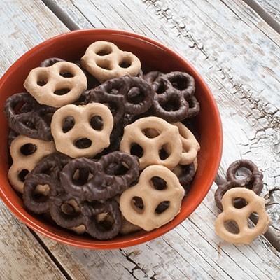 Sweet Peanut Butter & Dark Chocolate Pretzels